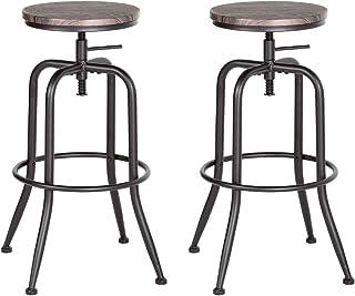 Fit@ Home Lot de 2 tabourets de soutien-gorge r/étro Finition noyer Style industriel en m/étal r/églable pivotant Hauteur de comptoir tabourets de bar
