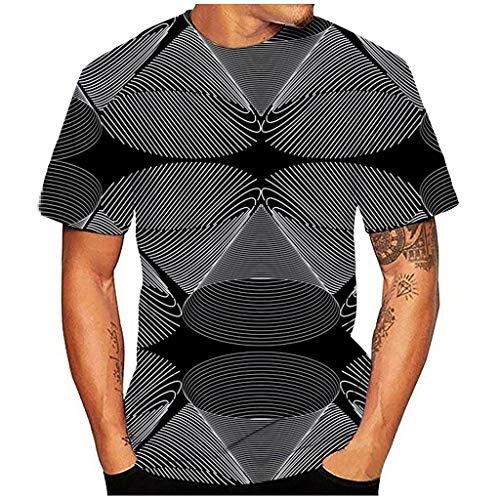 Unisex T Shirt, Luotuo Herren Damen 3D Vortex Schwindel Drucken Kurzarm Tops Sport Shirt Casual Oberteile mit Rundhalsausschnitt
