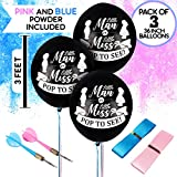 Baby Shower Gender Reveal Party Supplies Decoration Kit for Boy and Girl in Blue and Pink Smoke Bombs - 3 PCS Large Balloons with Darts - Ribbons - Funnel Complete Kit for Baby Gender Reveal