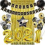 SUNBEAUTY Fiesta de Graduación 2021 Decoración 25 Piezas, Fondo fotográfico Estandarte dorado Felicitación Tarjeta de Ventilador Número Negro Globo de 2021