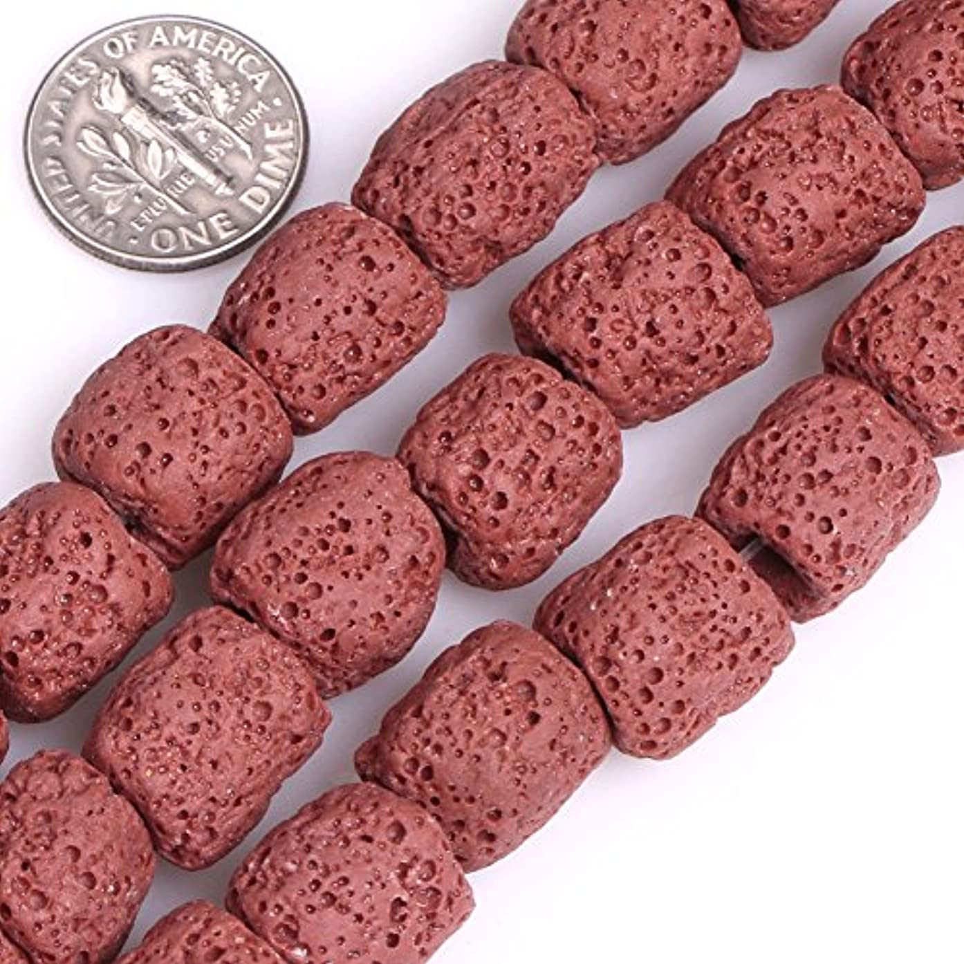 GEM-inside Lava Rock Gemstone Loose Beads 12x14mm Cloumn Red Crystal Energy Stone Power For Jewelry Making 15