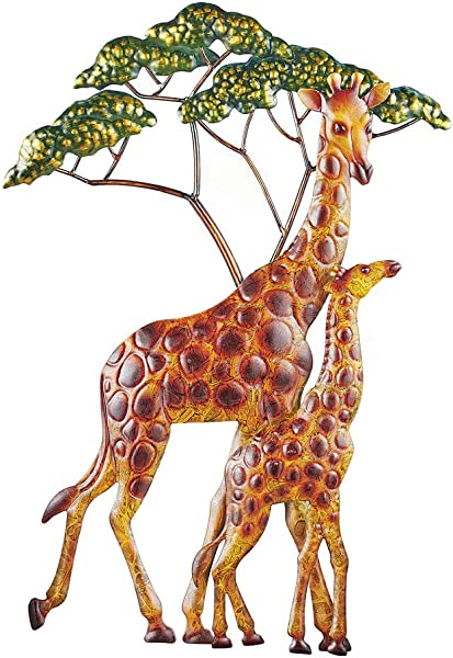 Collections Etc Giraffe Family Hand Painted 3D Wall Art With Hooks For Easy Hanging Beautiful Accent For Any Room In Home