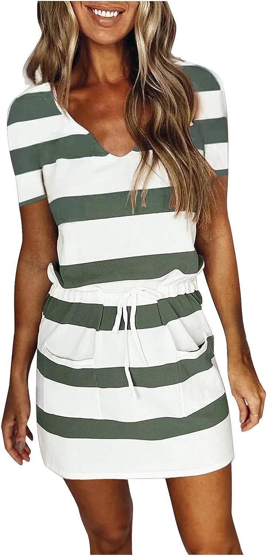Casual Summer Dress for Women Drawstring Short V-Neck Japan Maker New Sleeve New product type Min
