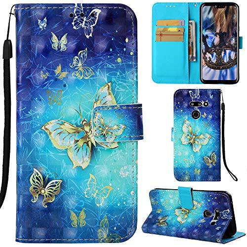 DodoBuy LG G8 ThinQ Hülle 3D Flip PU Leder Schutzhülle Stand Handy Tasche Brieftasche Wallet Hülle Cover für LG G8 ThinQ - Schmetterling Gold