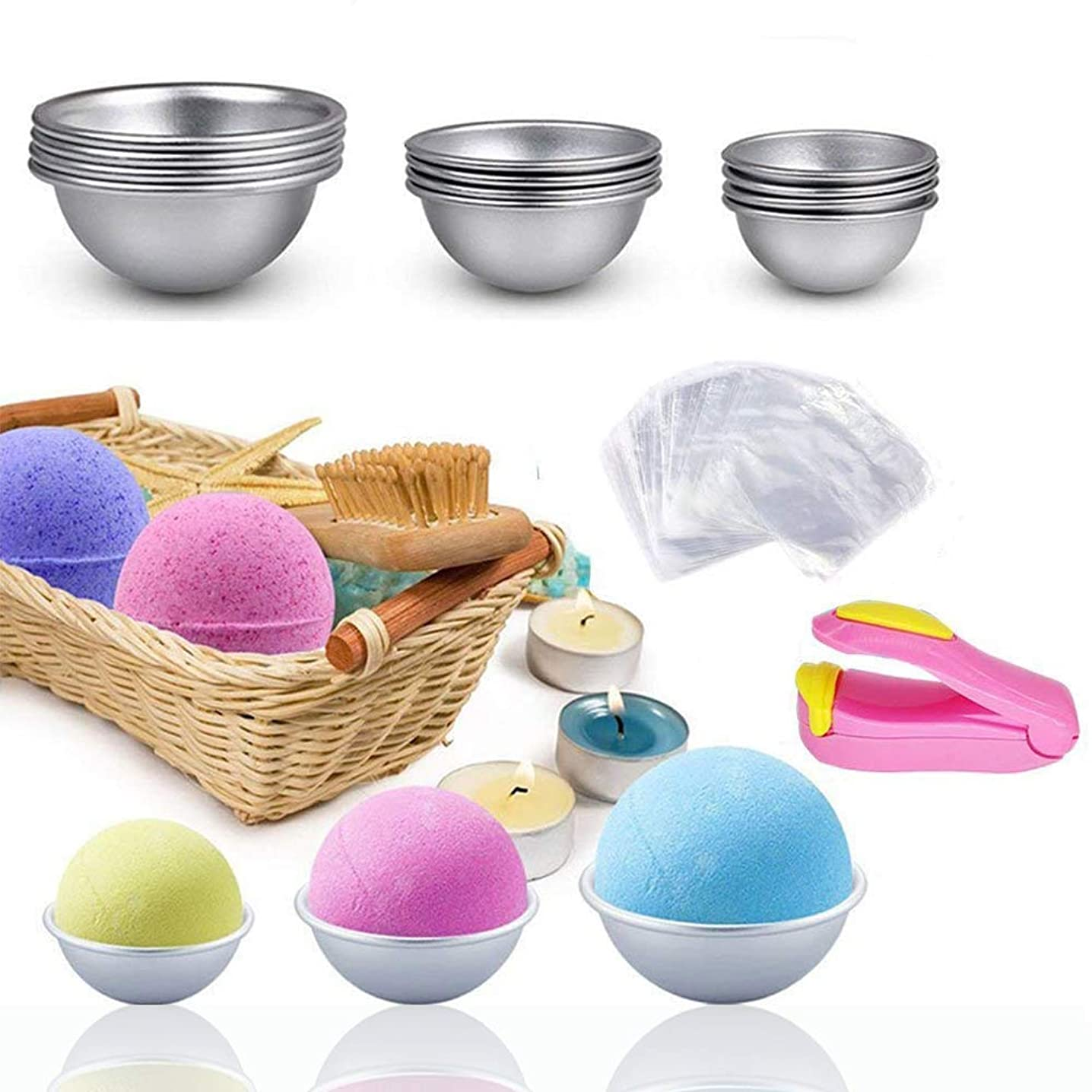 Metal Bath Ball Molds Set for Making Fondant Cakes, Puddings, Pastry, DIY Bath Ball Crafting - 3 Sizes 12 PCS Bath Ball Molds Kit & 100 PCS Shrink Wrap Bags and Mini Sealer