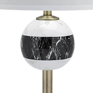 Catalina Lighting 20896-000 Mid-Century Modern Monochromatic Marble Stripe Pattern Floor Lamp with Linen Shade and 3-Way Switch,  62.75