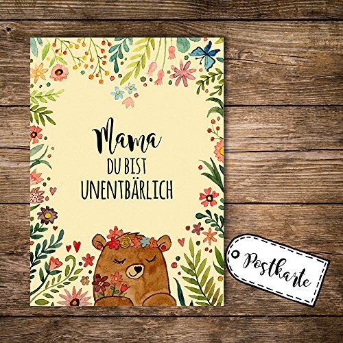 ilka parey wandtattoo-welt® A6 Postkarte zum Muttertag Ansichtskarte Flyer Print Bär mit Blumen und Spruch Mama du bist unentbärlich pk111