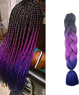 Ombre Jumbo Braiding Hair Kanekalon Hair for Braiding Black to Purple to Royal Blue 24 Inch 1 Packs/lot