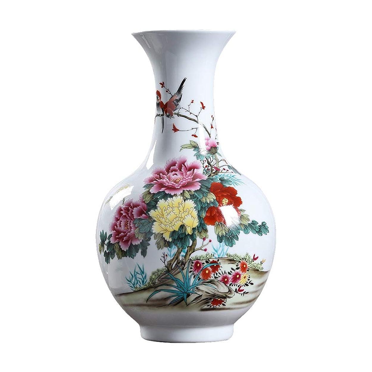 状計画音声花瓶 ベースホワイトで装飾アートホーム世帯ウェディングリビングルームベッドルームオフィステーブル用セラミック花瓶古典花と鳥ハイグレード インテリア フラワーベース