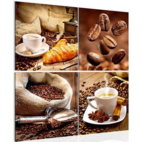 Bilder Küche Kaffee 4 Teilig Bild auf Vlies Leinwand Deko Wohnzimmer Coffee Braun 504144a