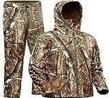 ADAFAZ Hunting Suit with Jacket & Pants Waterproof Camo Coat Camouflage Hoodie Windproof Hunting Coat for Men Hunting (Jacket & Pants, US XL= Tag XXL)