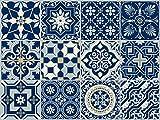 """The Nisha 12 PC (10 X 10) """"Peel and Stick"""" Adesivo per Muri in Vinile Piastrella, Decals per la Cucina & Bagno in Stile Art Eclectic, Adesivi muro murali, 10x10 cm, Blu Reale"""