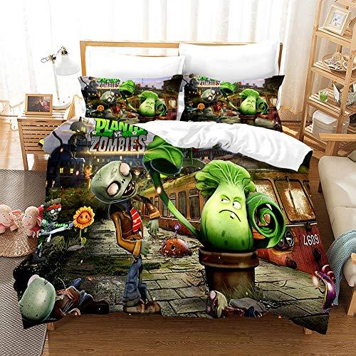 KEKEK - Juego de ropa de cama de dibujo animado 3D plantas vs zombies, juego de sábanas de anime, funda de edredón, tamaño grande, 2/3 piezas (colores -4,200 x 200 cm)