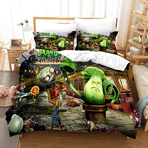 KEKEK - Juego de ropa de cama de dibujo animado 3D plantas vs zombies, juego de sábanas de anime, funda de edredón, tamaño grande, 2/3 piezas (colores -4,135 x 200 cm)