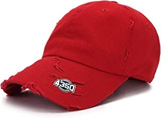 4350 DISTRICT Dad Hat Baseball Cap Adjustable Distressed Vintage Washed Polo Style Cotton Headwear