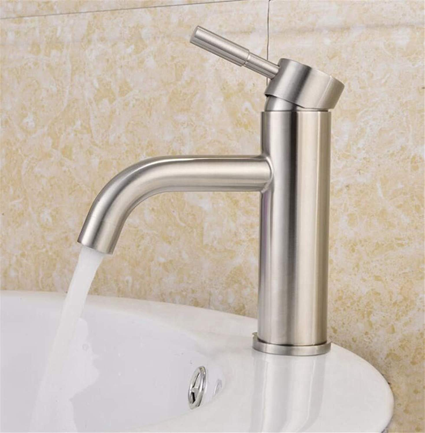 Bathroom Sink Basin Lever Mixer Tap Sus304 Stainless Steel Single-Hole Cold-Hot Mixing Table and Basin Faucet