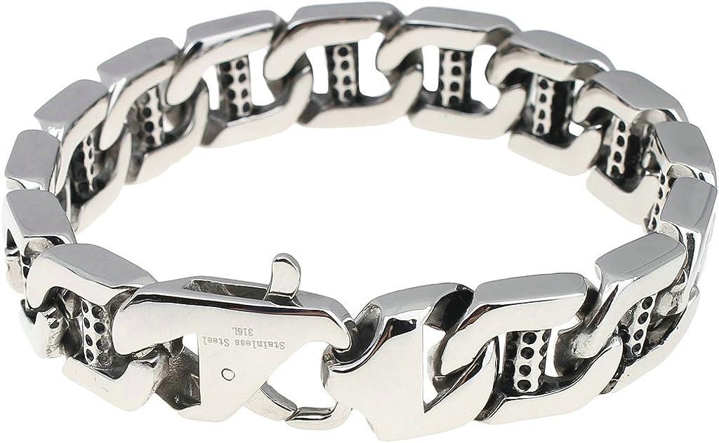Aienid Men Stainless Steel Bracelet Black Biker 2021 model Ranking TOP20 Bra Vintage Link