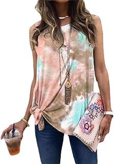 HEFASDM Women Tie Dye Casual Crewneck Knot Summer Oversized Tank Top Vest Blouse