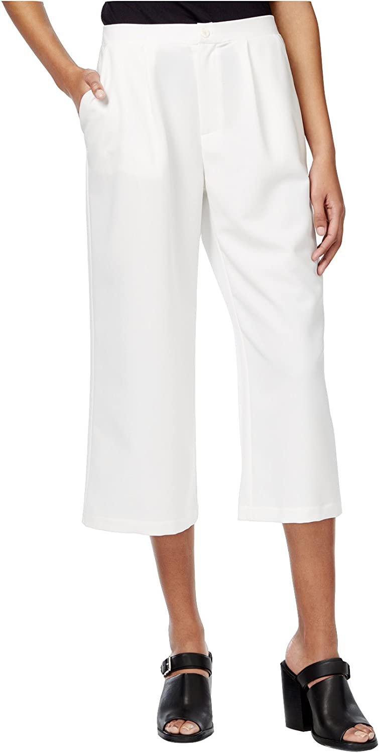 Bar III Women's Woven Cropped Culotte Pants (Medium, Washed White)