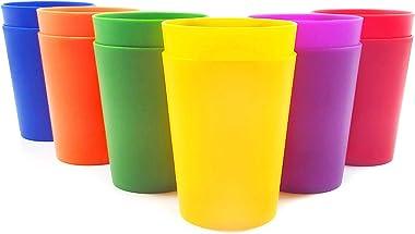 Vasos de plástico de 18 onzas, juego de 12 colores, irrompible, apto para lavavajillas, sin BPA