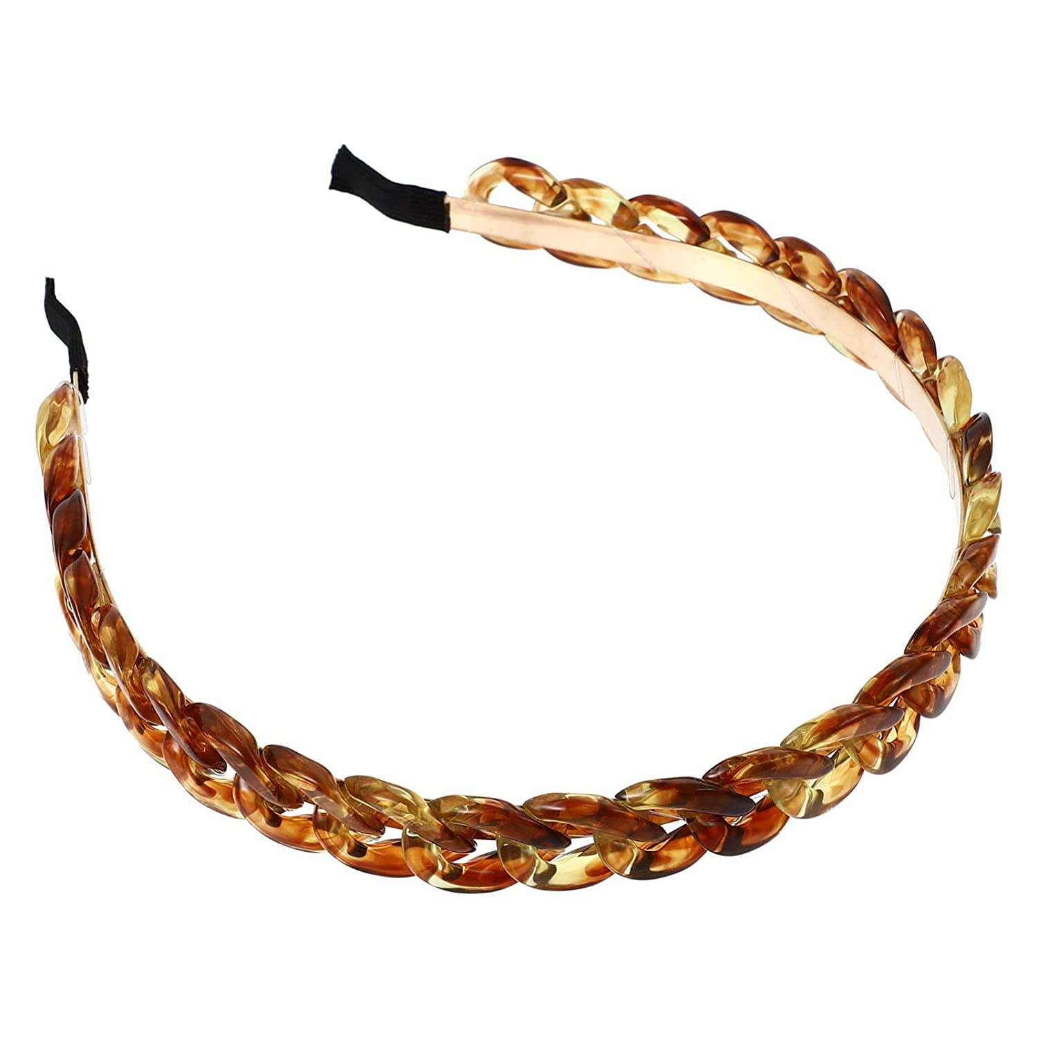 Lurrose Chain Headband for Women Acrylic Chain Link Hair Hoop Twisted Hair Chain Statement Hairband for Women and Girls Amber