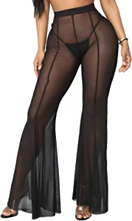 YouSexy Women's Sheer Mesh Ruffle Pants See Through Swimsuit Bikini Bottom Cover up Pants for Swimwear