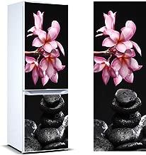 Pegatinas Vinilo para Frigorífico Piedras Negras y Flores | Varias Medidas 185x60cm | Adhesivo Resistente y de Fácil Aplicación | Pegatina Adhesiva Decorativa de Diseño Elegante