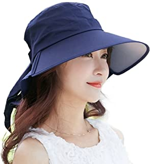 SIGGI Womens Sun Hat Summer Wide Brim Flap Cover Cap Cotton Anti-UV UPF 50+ Bow Chin Strap Adjustable Beach
