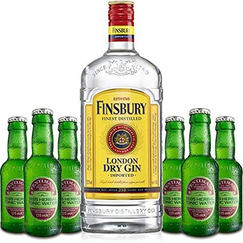 Gin Tonic Set - Finsbury London Dry Gin 0,7l 700ml (37,5{911bb457604878eeca79a7214f5422d590718b6573d4cf283ed803235eca49d6} Vol) + 6x Fentimans Herbal Tonic Water 200ml inkl. Pfand MEHRWEG