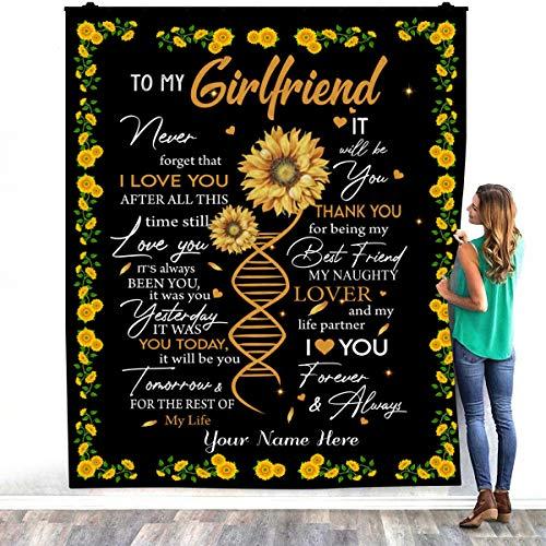 TeeShiny To My Girlfriend Never Forget That I Love You After Girasol - Manta de cama cálida para decoración de dormitorios (127 x 152 cm)