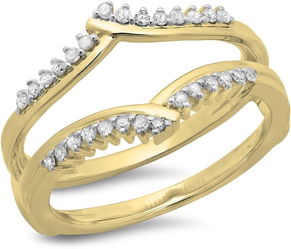 Dazzlingrock Collection 0.25 Carat (ctw) 14K Gold Round Diamond Ladies Anniversary Wedding Enhancer Guard Double Ring 1/4 CT