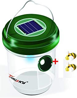 VIAEON Wasp Bee Get Pail Hornet Repellen Waterproof Solar Powered Wasps Bin with LED Light for Hornets Yellow Jacket Bees Bugs in Home Garden
