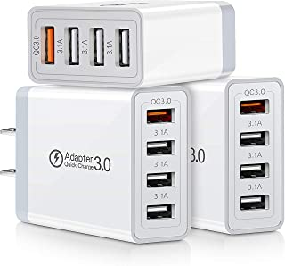 Quick Charge 3.0 Charger, 3-Pack iSeekerKit 4Ports QC 3.0 USB Wall Charger Adapter Fast Charging Block Compatible Samsung Galaxy S10 S9 S8/Note 8 9, iPhone iPad, Wireless Charger, Tablet and More