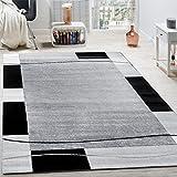 Paco Home Designer Teppich Wohnzimmer Teppich Bordüre in Grau Schwarz Creme Preishammer, Grösse:160x220 cm