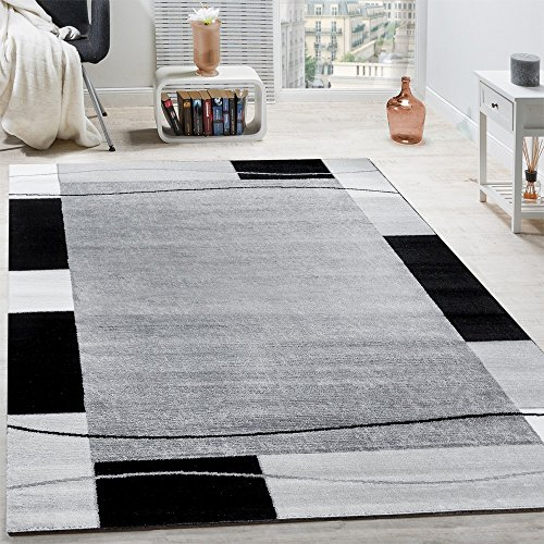 Paco Home Designer Teppich Wohnzimmer Teppich Bordüre in Grau Schwarz Creme Preishammer, Grösse:60x100 cm
