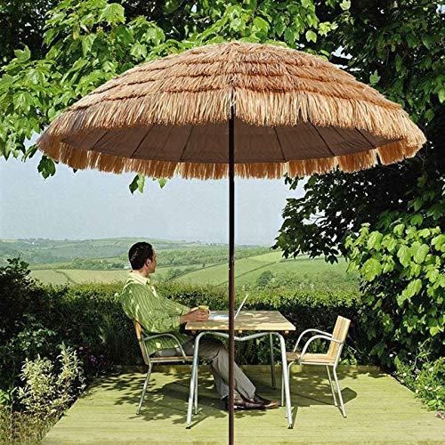 LDJ Parasol Imitation Paille Parapluie Extérieur, Protection UV Parapluie De Parasol De Paille De Plage Hawaïenne Tropicale pour Piscine 1.6m Couleur Naturelle