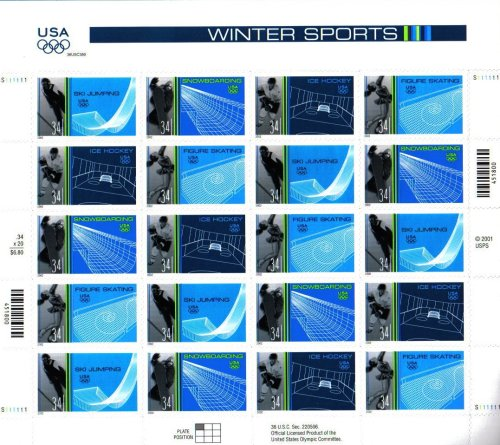 2002 OLYMPIC WINTER SPORTS ~ SALT LAKE CITY UTAH~ SKI JUMPING ~ SNOWBOARDING ~ ICE HOCKEY ~ FIGURE SKATING #3555a Pane of 20 x 34¢ US Postage Stamps -  United States of America