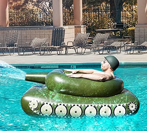 Noa Aufblasbarer Poolspielzeug, Sprühwasser Panzer Schwimmsessel, Sommerspiel Tank mit Spritzpistole Schwimmreifen Schwimmring Float Sommerspaß für Kinder Erwachsene