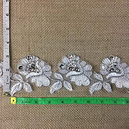 AMORE F Ivory 2Yards Choose Color Multi-Use Veils Garments Communion Christening 3 Wide Bridal Veil Lace Trim Classic Rose Flower Design Alencon Hand Beaded Sequined Corded Embroidered Organza