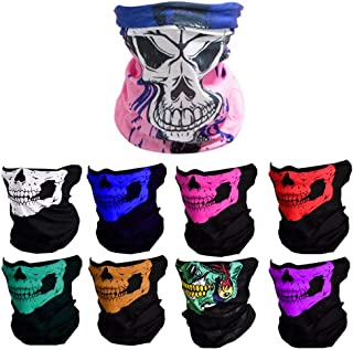 Featy 9PCS Windproof Seamless Skull Face Mask Bandanas, Headband, Scarf, Headwrap, Neckwarmer or More Multifunctional for Music Festivals, Raves, Riding, Cycling, Outdoors