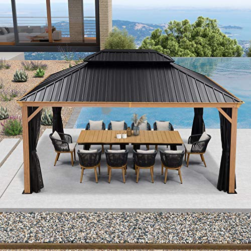 PURPLE LEAF 12' X 16' Outdoor Hardtop Gazebo for Patio Galvanized Steel Double Roof Permanent Canopy Teak Finish Coated Aluminum Frame Pavilion Gazebo with Netting