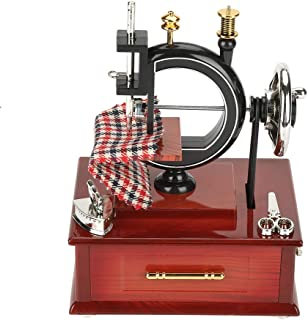 Walfront Vintage Sewing Machine Retro Style Music Box Plastic Clockwork Music Box Table Desk Decoration Toy Gift for Kid Children