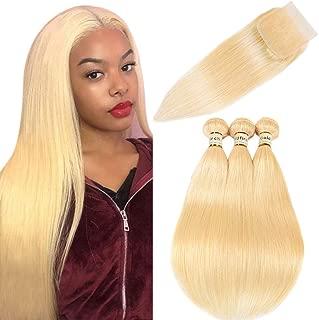 Goldfinch 613 Blonde Bundles with Closure Straight Platinum Blonde Human Hair Bundles with 4x4 Lace Closure 12 12 14 +12 Brazilian Straight Virgin Hair