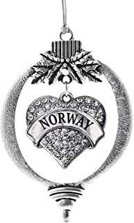 Best Inspired Silver - Norway Charm Ornament - Silver Pave Heart Charm Holiday Ornaments with Cubic Zirconia Jewelry Reviews