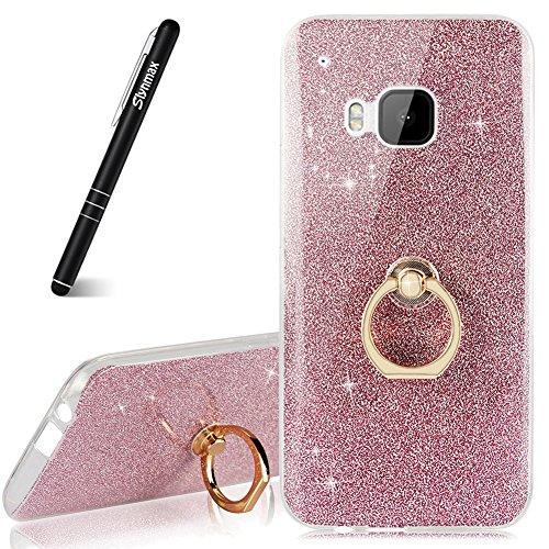 Glitzer Hülle für HTC One M9,Slynmax Silikon Hülle Schutz Handy Hülle Tasche Etui Bumper Hülle Transparent Weich TPU Silikon Schutz Case Handyhülle Schale Etui Metall Ring Ständer für HTC One M9-Rosa