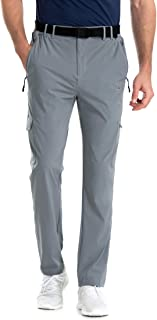 Sponsored Ad - Clothin Men's Elastic-Waist Travel Pant Stretchy Lightweight Cargo Pant Quick Dry Breathable