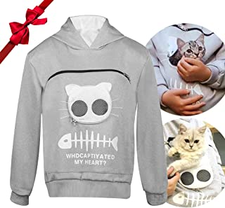 Dog Pouch Holder Hoodie for Women Cat Carrier Sweatshirt for Men Pet Holder