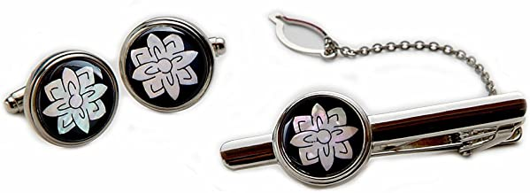Mother of Pearl Lotus Flower Round Tie Clip Bar Clasp Pin Tack Tac Cufflinks Set