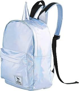 Unicorn Sliver Holographic Backpack Leather Satchel School Daypack for Girls Boy