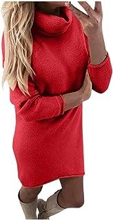 KESEELY Winter Pullover Top Women's Fashion Long-Sleeved Slim Undershirt Turtleneck Sweater Loose Dress